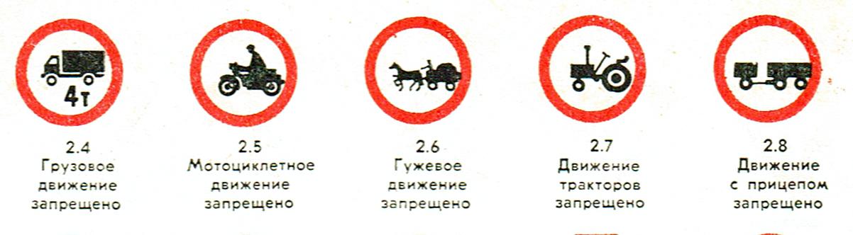 1978. gada satiksmes noteikumu aizlieguma zīmes.