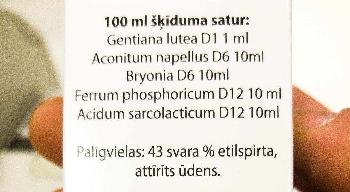 Aflubin homeopātiskās zāles. Saturs.