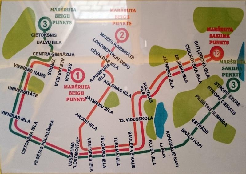 Daugavpils tramvaju kustības shēma. 2014. gada rudens.