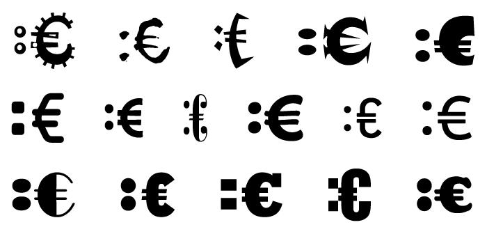 Eiro simbola smaidiņš ar dažādiem fontiem (pieregulēts simbolu augstums).