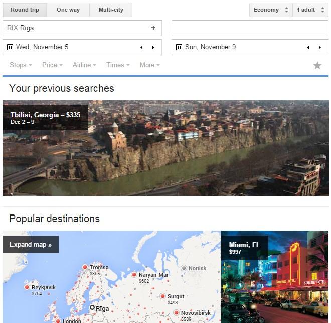 Google Flights lidojumu meklētājs.