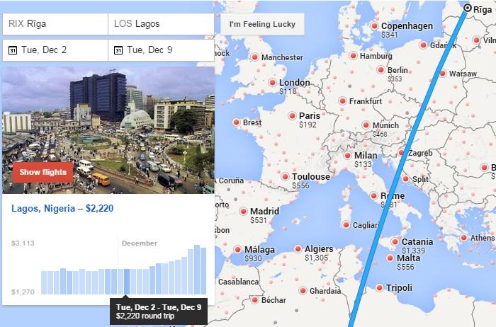 Vēlamā lidojuma galamērķa meklēšana uz kartes, uzreiz arī skatoties cenas.
