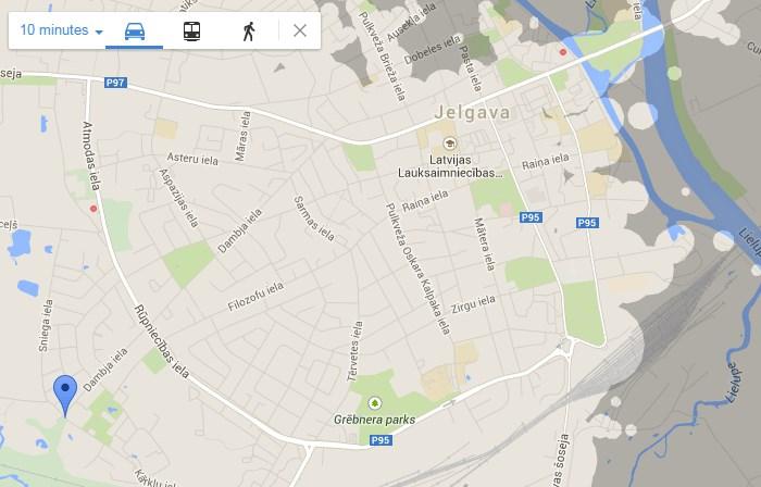 Google Hotels meklētājs ar nokļūšanas laika ierobežošanu.