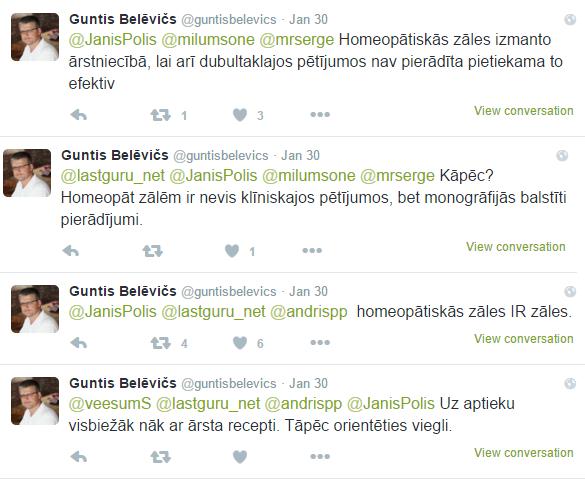 Guntis Belevičs par homeopātiju.