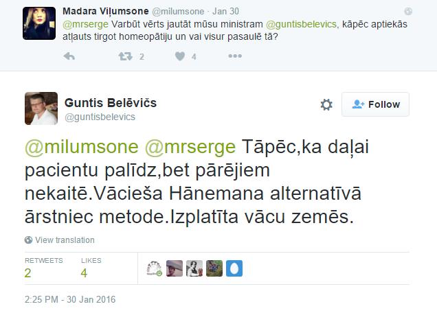 Guntis Belēvičs par homeopātiju.