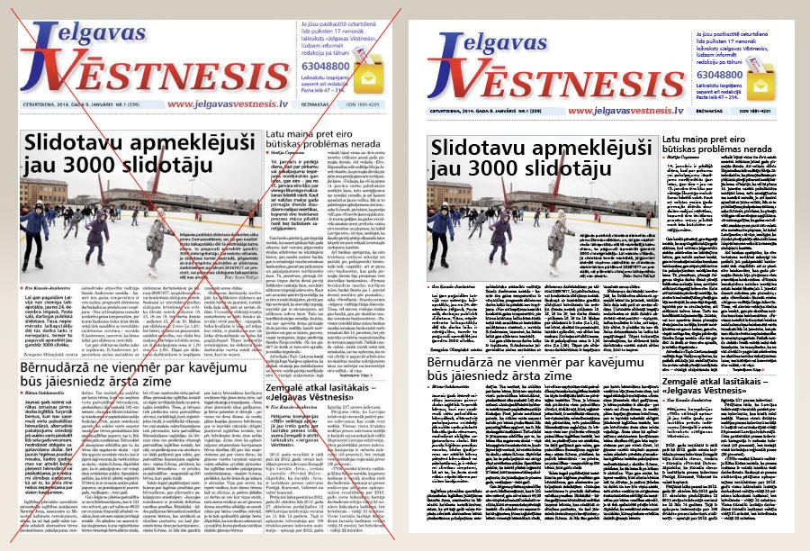 Laikraksts «Jelgavas Vēstnesis». Pirmā lapa apgrieztā un pilnā formātā.