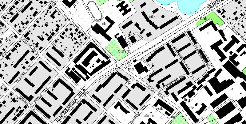 Latvijas Ģeotelpiskās informācijas aģentūras Daugavpils topogrāfiskās kartes fragments.