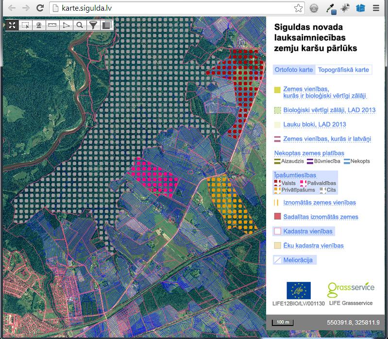 Siguldas novada lauksaimniecības zemju karšu pārlūks. Mr. Serge versija.