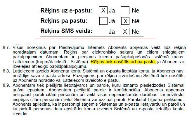 Lattelecom līguma fragmenti par rēķina saņemšanas veidiem.