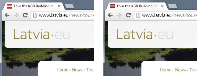 Kreisajā pusē: latvia.eu oriģinālā ikona, labajā pusē: ikona ar īstu Latvijas karoga krāsu un proporcijām.