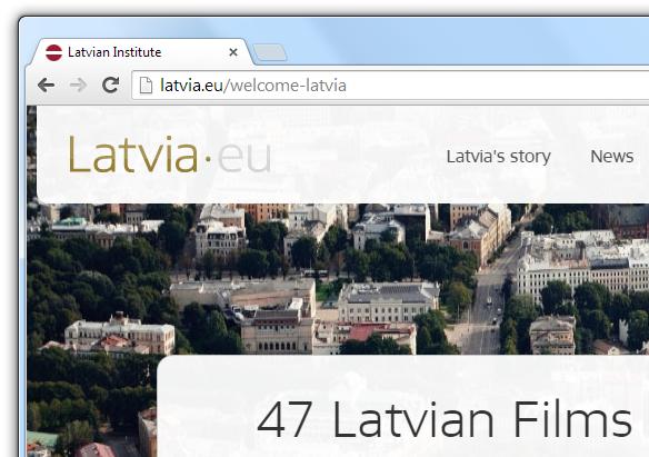 latvia.eu atjaunota mājaslapas ikona ar pareizu karoga krāsu un proporcijām.