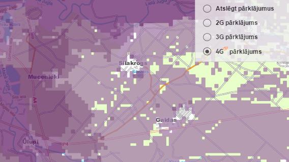 Silakroga ciems LMT 4G pārklājuma kartē 2014. gada 30. oktobrī.