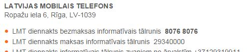 LMT diennakts bezmaksas informatīvais tālrunis.