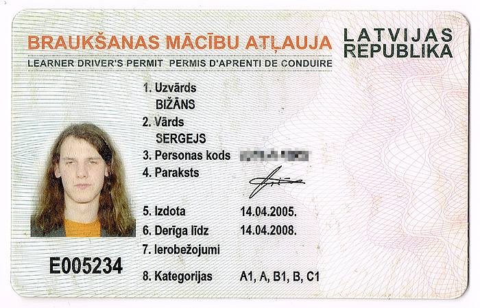 Mcbu braukanas atauja. 2004. gada dizains.
