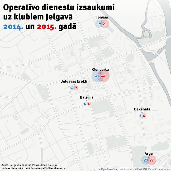 Operatīvo dienestu izsaukumi uz klubiem Jelgavā 2014. un 2015. gadā. Mrserge.lv grafika.