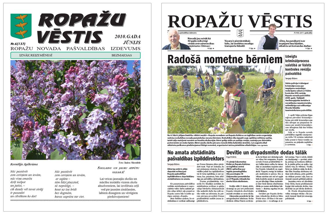 Ropažu novada pašvaldības izdevuma 2010. un 2011. gada pirmā lapaspuse.