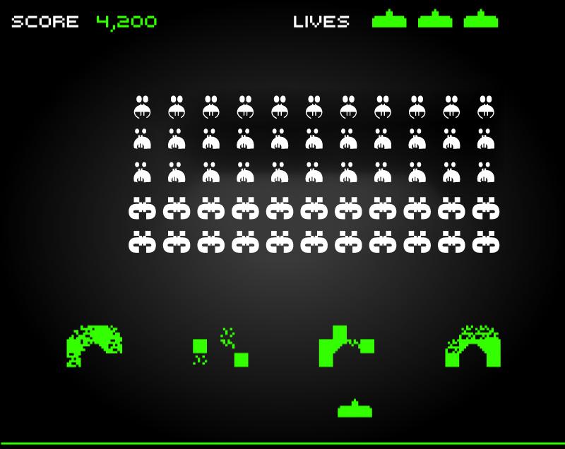 Space Invaders spēle ar eiro simbola monstriņiem.