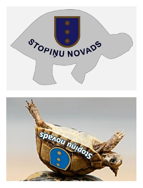 Stopiu novada simbolika (logo) nesaskaot oriinla izmantoana un mrserge.lv versija.