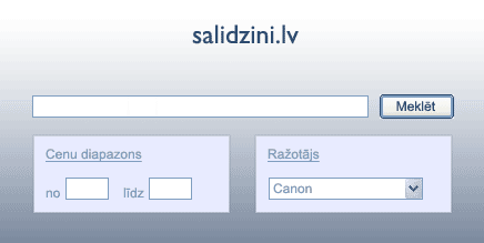 Salidzini.lv meklanas forma