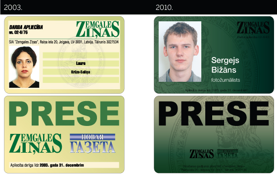 Zemgales Zias. Preses karte. 2003. un 2010. gads.
