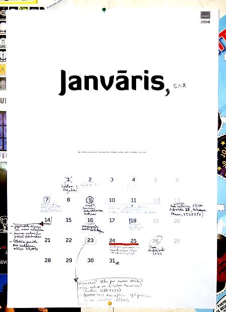 Kalendārs, kurā visu pats var saplānot (2008. gada maketa paraugs).