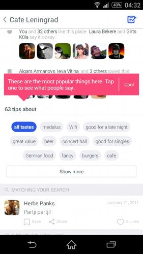 Funkcionālās saites pielietojuma piemērs Foursquare jaunajā mobilās aplikācijas dizainā.