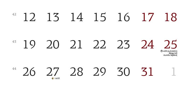 2015. gada kalendārs (oktobra mēneša fragments).