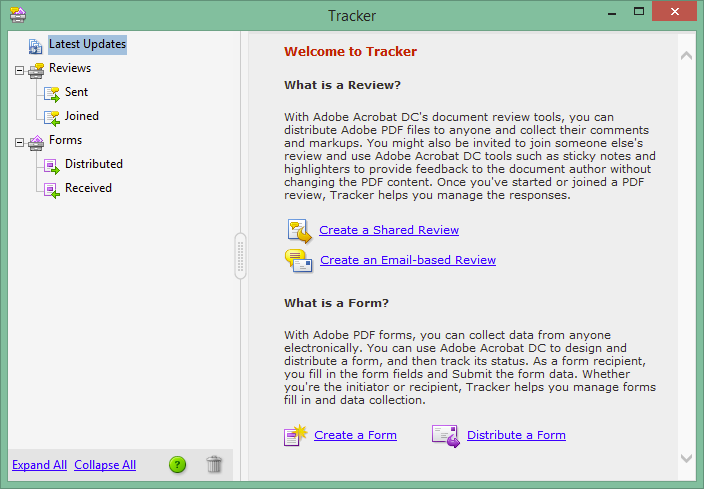 Acrobat DC document tracker.