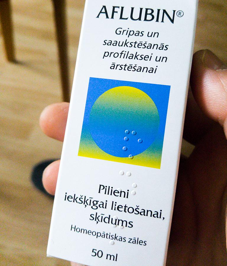 Aflubin. Gripas un saaukstēšanās profilaksei un ārstēšanai. Pilieni iekšķīgai lietošanai, šķīdums. Homeopātiskas zāles .