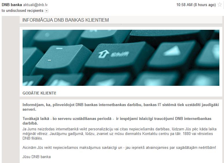 DNB bankas atvainošanās vēstule par pārtraukumiem internetbankas darbībā.