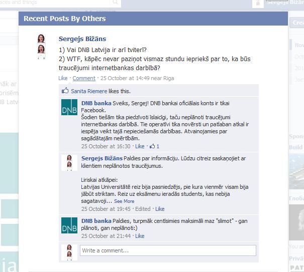 Sarakste ar DNB banku Facebook lapā