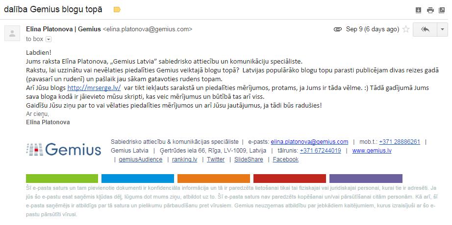 Vēstule no Gemius Latvia pārstāves Elīnas Platonovas.