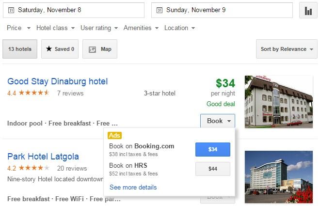 Google Hotels apmešanās vietu meklētājs.