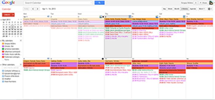 Google kalendārs divu nedēļu skatā.