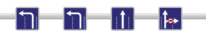 Gustava Zemgala un Brīvības gatves krustojuma zīmes, nobraucot no Vairogu pārvada.