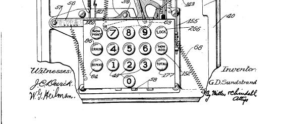 Gurstava Deivida Sandstrenda skaitļošanas iekārtas tastatūra. Bilde no patenta pieteikuma.