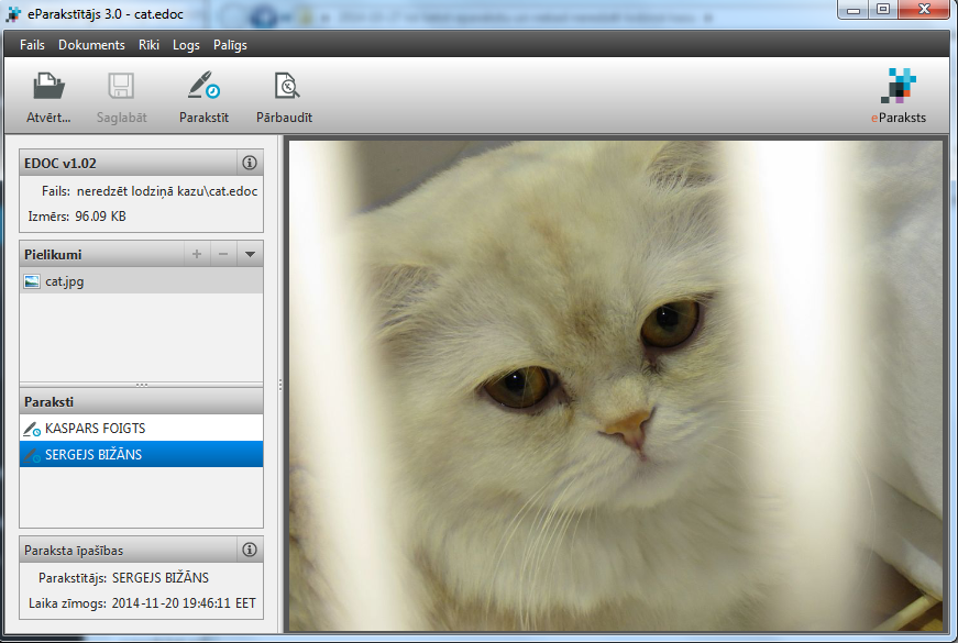 Kaspara un Sergeja kopīgi parakstītā kaķu dokumenta skats eParakstītājs 3.0 programmā.