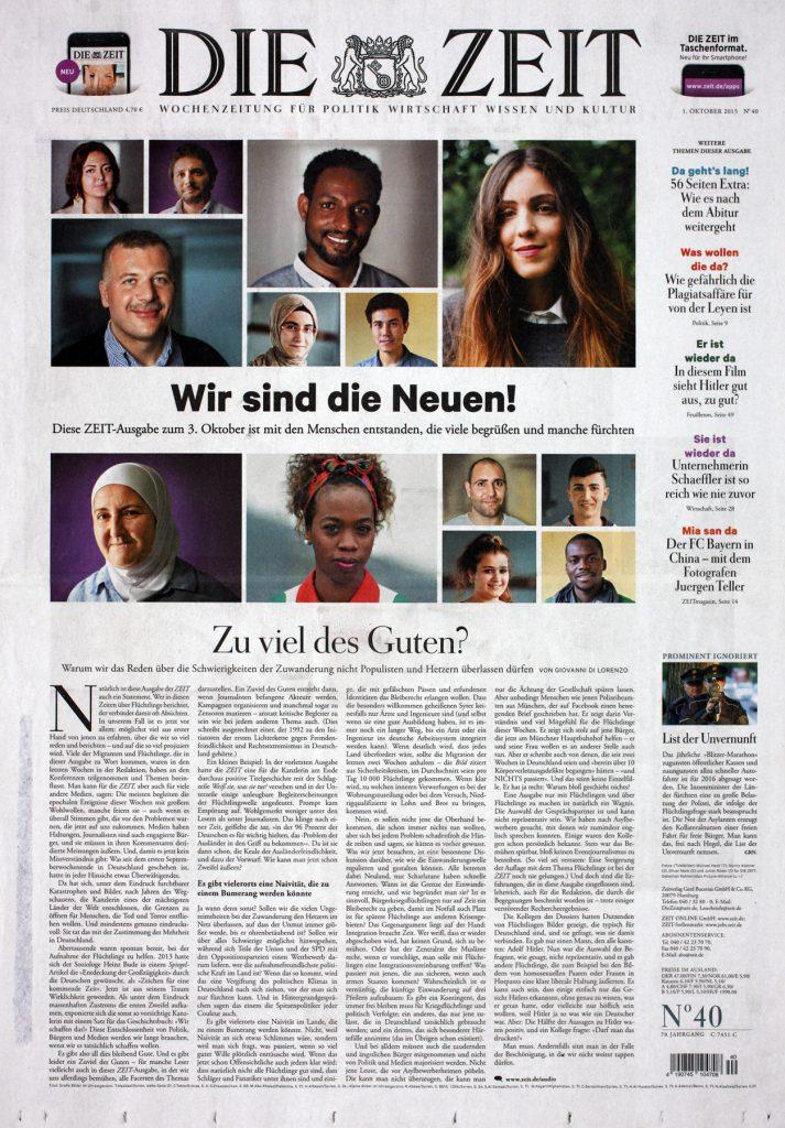 Laikraksta «Die Zeit» pirmā lapa 2015. gada 1. oktobrī.