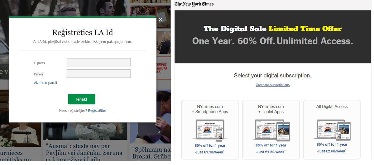 Pirmais, kas parādās, mēģinot reģistrēties Latvijas Avīzes un New York Times mājaslapā.