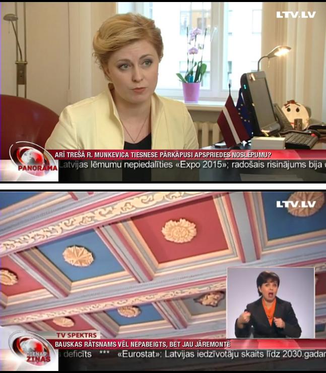 LTV ziņu dienesta materiāli ar pārstrādātu virsraksta bloku un paceltu surdotulka logu.