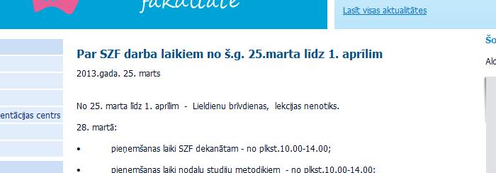 Datuma pielietojums Latvijas Universitātes Sociālo zinātņu fakultātes mājaslapā.