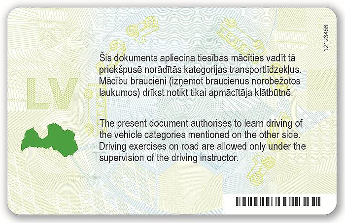 Braukšanas mācību atļauja. 2013. gada dizains (aizmugure).