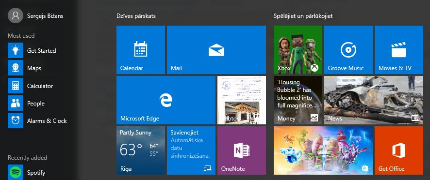 Microsoft Windows 10 starta izvēlne pēc sistēmas valodas nomaiņas no latviešu uz angļu.