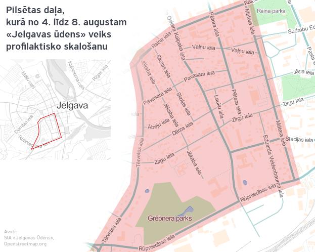 Pilsētas daļa,  kurā no 4. līdz 8. augustam «Jelgavas ūdens» veiks profilaktisko skalošanu. Mr. Serge versija.