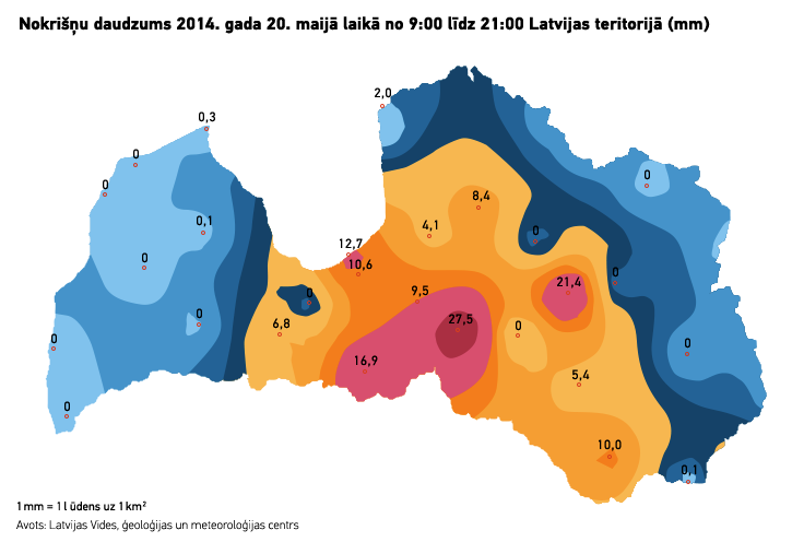 Nokrišņu daudzums 2014. gada 20. maijā laikā no 9:00 līdz 21:00 Latvijas teritorijā (mm). Mr. Serge versija.