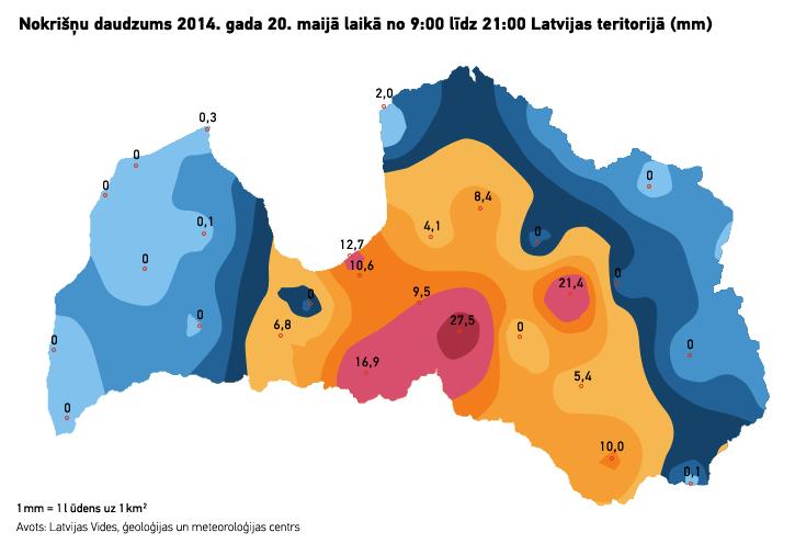 Nokrišņu daudzums 2014. gada 20. maijā laikā no 9:00 līdz 21:00 Latvijas teritorijā (mm). Mr. Serge versija.