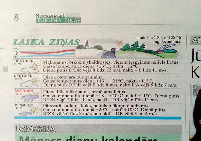 Laika ziņas avīzē Neatkarīgās Tukuma Ziņas.