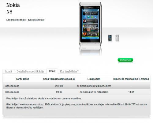 Nokia N8 cena Tele2 Latvia mājaslapā 2011. gada 5. novembrī.