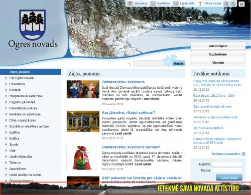 Ogres novada mājaslapa. Slīdošās reklāmas piemērs lapas apakšā.