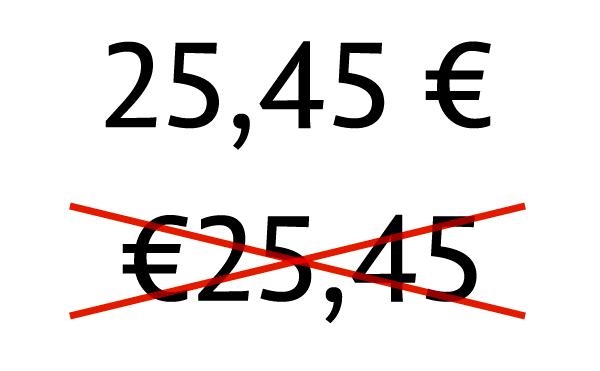 Pareiza eiro simbola lietošana tekstā.
